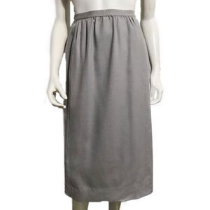 Vintage Gray Pleated Wool Pencil Skirt